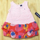 Old Navy Baby Girls 0-3 Months Pink Stripe Tank Top Dress with Floral Ruffles and Diaper Cover