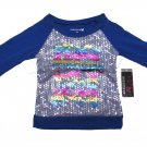 One Step Up Girls size 4 Blue Raglan Shirt with Sequins and Rainbow Foil Kids Small New