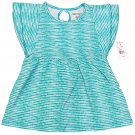 One Step Up Girls size 6X Teal Blue Polka Dot Stripe Babydoll Shirt Keyhole Back Kids