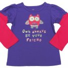 Okie Dokie Baby Girls 24 Mos Owl Always Be Your Friend T-shirt Purple Tee