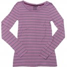 Nollie Juniors M Purple Stripe Long Sleeve Tee Shirt Super Soft Knit Medium New