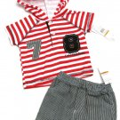 Calvin Klein Jeans Baby Boys 0-3 Months Red White Stripe Hooded Shirt Blue Shorts Set
