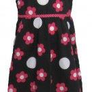 New Horizons Girls size 6 Floral Sundress Sleeveless Ruffle Neck Summer Dress Black Pink