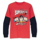 DC Comics Boys size 14-16 Superman Long Sleeve T-shirt Man of Steel Tee Shirt Heather Red