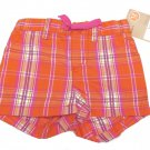 Carters Baby Girls 12 Months Orange and Pink Plaid Cotton Shorts Carter's Playwear New