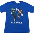 Nintendo Boys L Super Mario and Luigi Players T-shirt Blue Tee Shirt New
