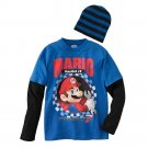 Nintendo Mario Kart Boys L Blue Long Sleeve Tee Shirt and Beanie Hat Set Youth Large