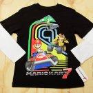 Nintendo Mario Kart Boys L Tee Shirt Black T-shirt with Long White Sleeves New
