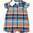 Carters Baby Boys 6 Months Blue and Orange Plaid Romper Button-down One-piece with Pocket Carter's