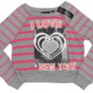 Miss Understood Girls M Pink and Gray Stripe Oversize Crop Sweater I Love NY Youth Pullover