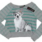 Miss Understood Girls L Green and Gray Stripe Oversize Crop Sweater Puppy Youth Pullover