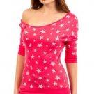 Mitto Juniors L Coral Pink Scoopneck Off-Shoulder Slubbed Shirt in Star Print