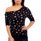 Mitto Juniors M Black Scoopneck Off-Shoulder Slubbed Shirt in Star Print