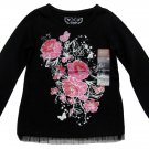 Arizona Girls 2T Black Long Sleeve T-shirt with Pink Roses Tulle Trim Tee Toddler New