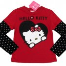 Hello Kitty Girls XS 4-5 Red Heart Tee Shirt with Black Polka Dot Long Sleeves