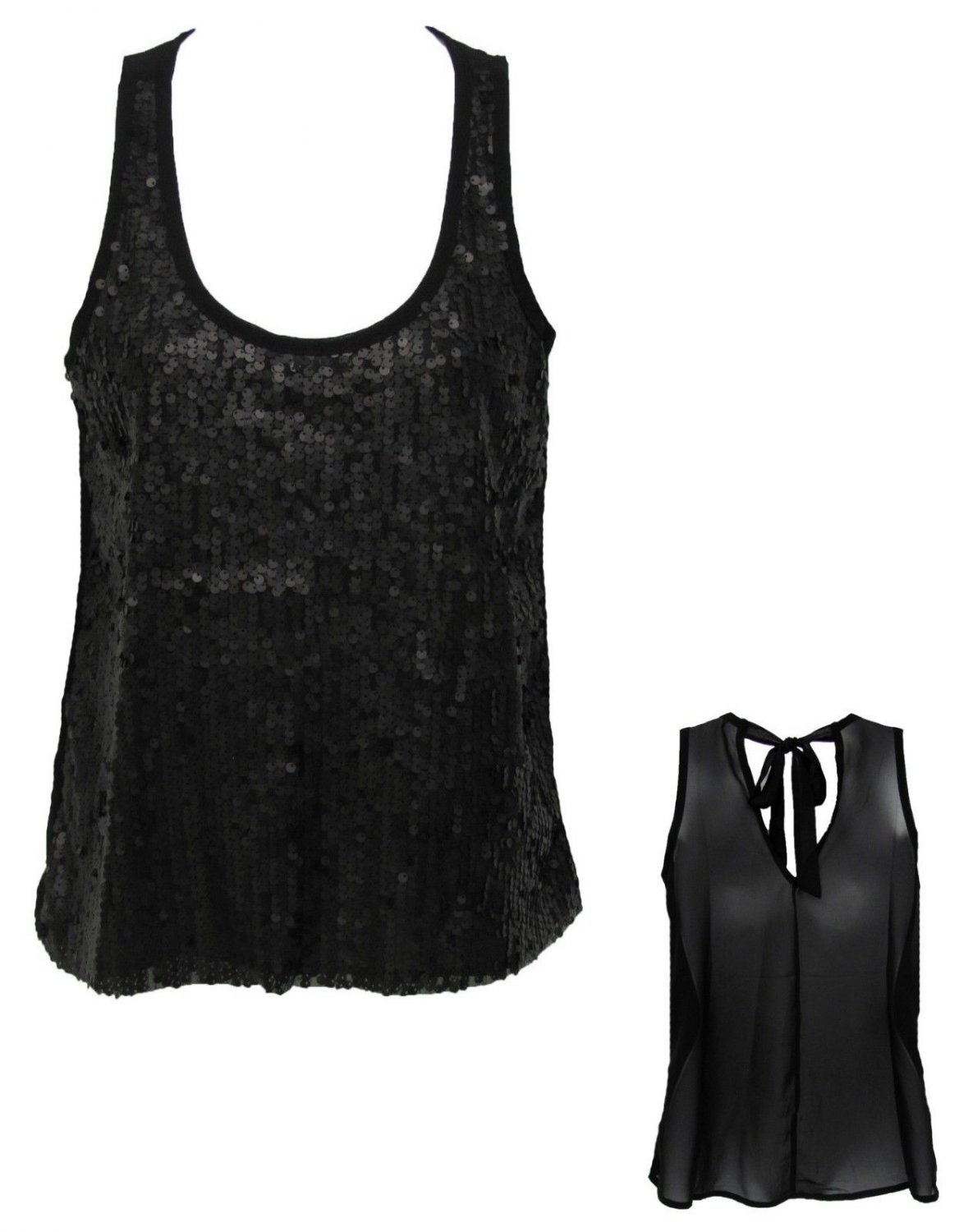 Kirra Juniors S Black Sequin Tank Top Shirt with Sheer Back