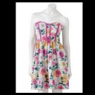 Kandy Kiss Juniors size 13 Pink Floral Strapless Tea Dress with Sweetheart Neckline