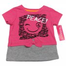 Kidtopia Baby Girls 12 Mos Peace Mock Layer Tee Shirt Pink