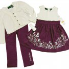 Calvin Klein Jeans Girls 3T Cream Cardigan Dress and Purple Leggings 3-Piece Set