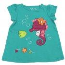 Jumping Beans Baby Girls 3 Months Glitter Seahorse Tee Shirt Green New