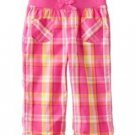 Jumping Beans Girls 2T Pink Plaid Capri Pants Toddler New