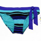 Jag Womens M Stripe Bikini Bottom Purple Aqua Black New