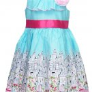 Jessica Ann Girls size 6 Light Blue and Pink City Print Sleeveless Dress Toddler New