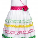 Jessica Ann Girls size 4 White Seersucker Halter Dress with Ribbon Stripes