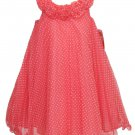 Jessica Ann Girls Size 4 Coral Pink Mesh Polka Dot Sleeveless Tunic Dress
