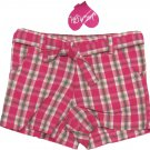 Just a Girl size 5 Pink Plaid Cotton Shorts with Matching Belt New