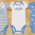Just One You by Carters Newborn 3-Piece Short Sleeve Bodysuits Set Gray Blue NB