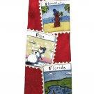 John Ashford Red Snowman Vacation Stamps Silk Neck Tie New Necktie