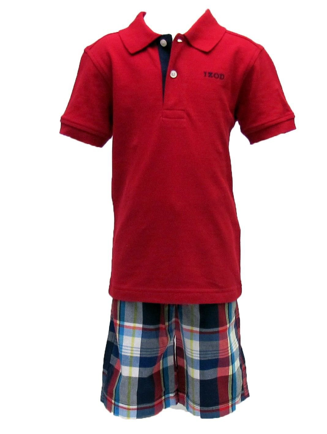 Izod Boys Size 2t Red Pique Polo Shirt And Plaid Shorts