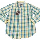 IZOD Boys size L 8-10 Medium Blue Plaid Button-down Dress Shirt Long Sleeve New