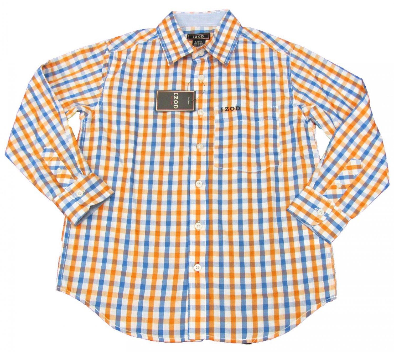 Izod Boys Size L 8 10 Orange And Blue Plaid Button Down