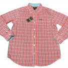 IZOD Boys size L 8-10 Red Plaid Button-down Dress Shirt Long Sleeve New
