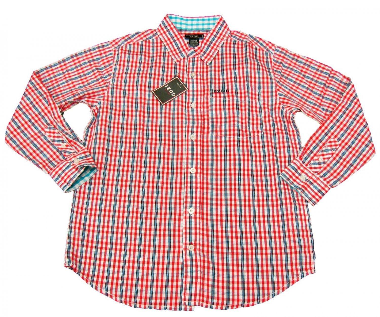 Izod Boys Size S 4 5 Red Plaid Button Down Dress Shirt