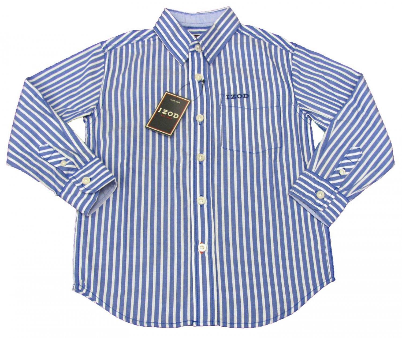 Izod Boys Size L 8 10 Dark Blue Stripe Button Down Dress
