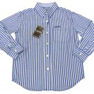 IZOD Boys size L 8-10 Dark Blue Stripe Button-down Dress Shirt Long Sleeve New