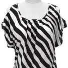 Inc International Company size M Black and White Stripe Knit Shirt with Cold Shoulder Top