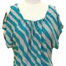 Inc International Company size M Blue and Gray Stripe Knit Shirt with Cold Shoulder Top