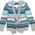 Its Our Time Girls M 10-12 Gray and Blue Wrap Sweater Long Sleeve Geometric Pattern