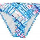 Hurley size M Blue and White Plaid Hipster Bikini Bottom Swim Medium New