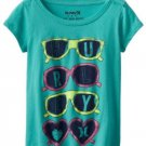Hurley Girls L Sunglasses Tee Shirt Aqua Green Cotton Blend Youth T-shirt Large New