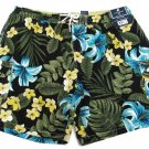 Carribean Joe Mens XXL Floral Swim Trunks Shorts Black Green Blue Hibiscus