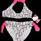 Hello Kitty Girls size 4 Polka Dot 2-Piece Swimsuit Halter Bikini Bathing Suit Swim New