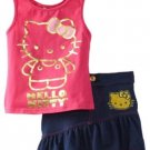 Hello Kitty Girls Size 4 Pink Tank Top Shirt and Embroidered Skirt 2-Piece Set