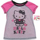 Hello Kitty Girls Size 8 Gray and Pink Pajama T-shirt Sleepwear Tee Shirt New