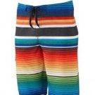 Hang Ten Mens size 36 Multi Stripe Stretch Boardshorts Board Shorts