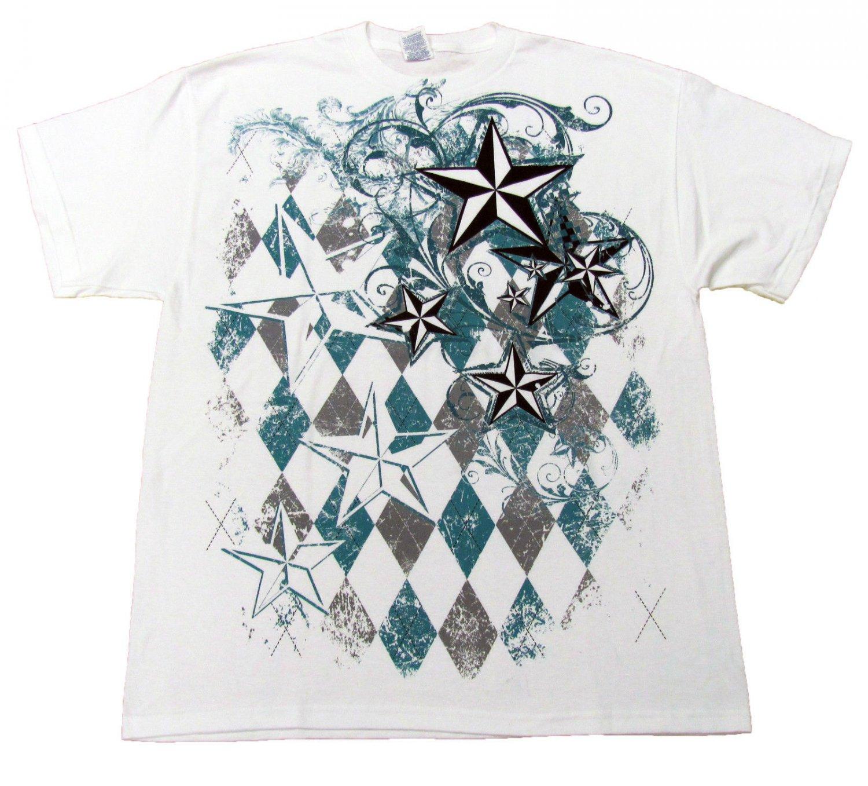 Hybrid Mens M Nautical Star T-shirt Filigree and Argyle Graphic Tee Shirt White